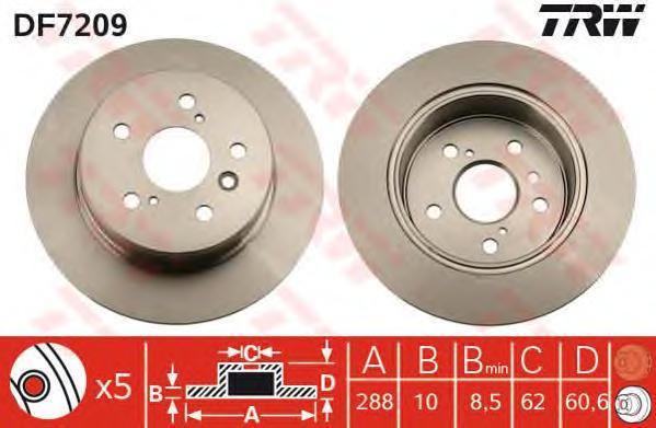 DF7209 Диск тормозной LEXUS RX300 V6 00-03 задний