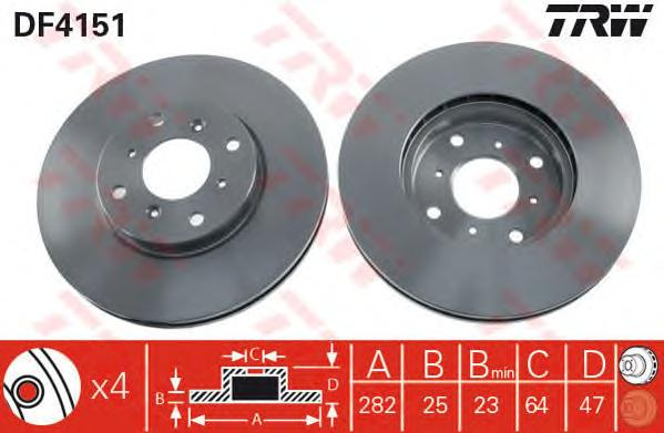 DF4151 Диск тормозной HONDA ACCORD 1.8-2.3 98-03 передний