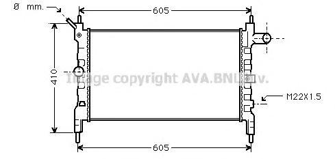 OLA2023 Радиатор системы охлаждения OPEL: ASTRA F (56_, 57_) 1.4 Si/1.4 i/1.6 Si/1.6 i 91 - 98 , ASTRA F Van (55_) 1.4 i/1.6 i 9