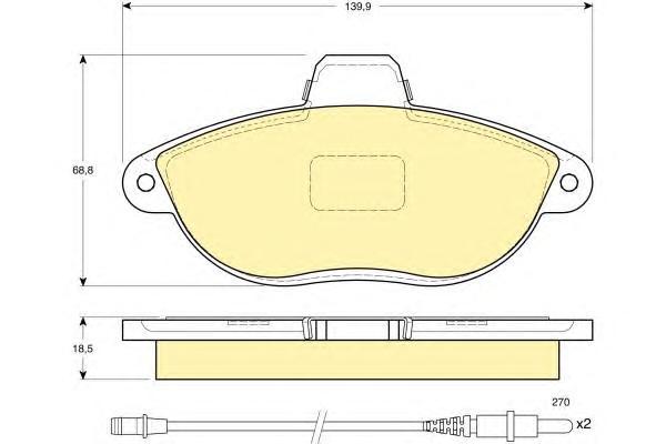 6112163 Колодки тормозные CITROEN JUMPY 95-/PEUGEOT 806/EXPERT 96- передние