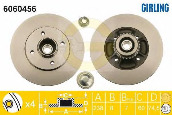 6060456 Диск тормозной RENAULT CLIO II 98- задний СБ с подшипником,с АБС