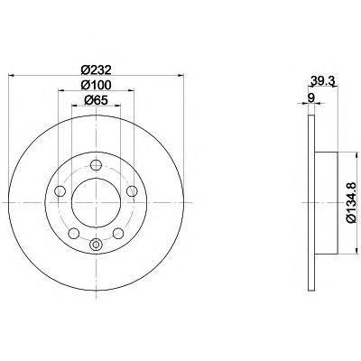 8DD355105411 Диск тормозной AUDI A3 9703/VOLKSWAGEN G4/G5/POLO 02 R15 задний