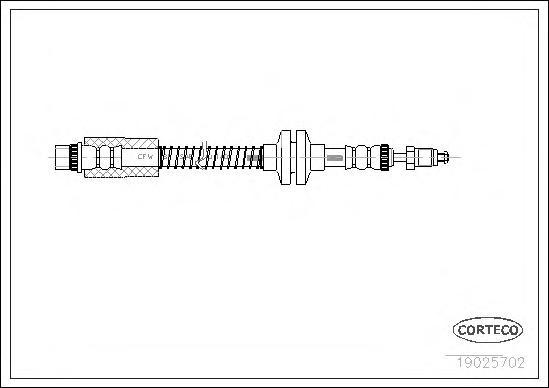 19025702 Шланг тормозной CITROEN: EVASION 1.8/1.9 TD/2.0/2.0 16V/2.0 HDI/2.0 HDI 16V/2.0 Turbo C.T./2.1 TD 94-02, JUMPER фургон