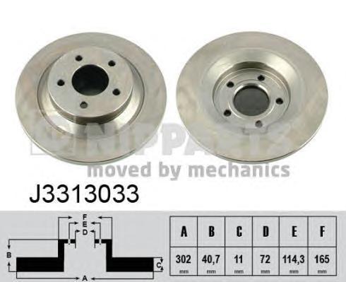 "J3313033 Диск тормозной MAZDA 5 05- R16""/R17"" задний D=302мм."