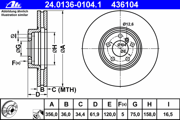 24013601041 Диск тормозной передн, BMW: X5 4.4 i/4.6 is/4.8 is 00-