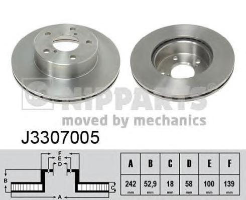 J3307005 Диск тормозной SUBARU IMPREZA 92-00 без АБС/LEGACY 1.8 89-91 передний D=242мм.