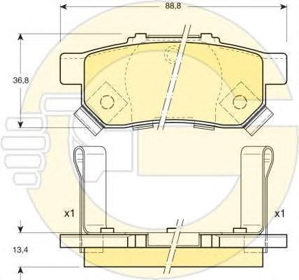 6131749 Колодки тормозные HONDA CIVIC VI 1.6 95-01/JAZZ 1.2/1.4 02- задние