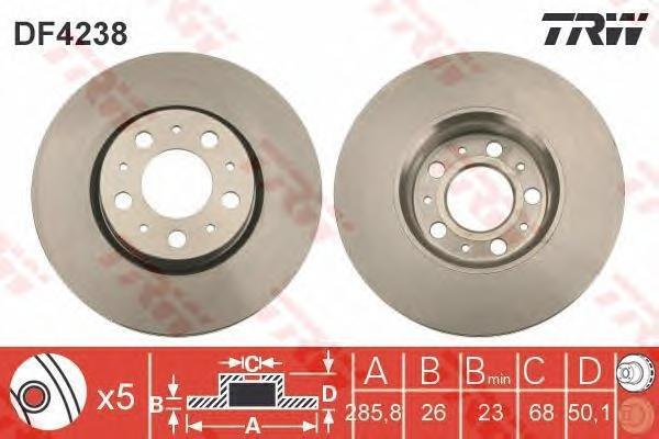 DF4238 Диск тормозной VOLVO S60 01-/S80 99-06/V70 97-/XC70 02- R15 передний D=286мм.