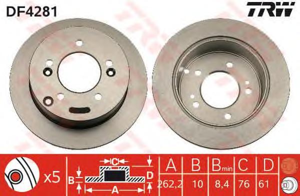 DF4281 Диск тормозной HYUNDAI SONATA (NF)/TUCSON 04-/KIA SPORTAGE 04- задний D=262мм.