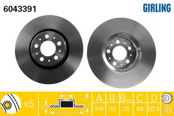 6043391 Диск тормозной VOLVO XC90 02 R16 передний вент. D=316мм