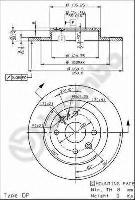08685710 Диск тормозной MAZDA 323 89-94/MX-3 91-/MX-5 94-05 задний