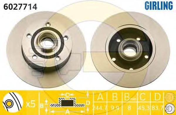 6027714 Диск тормозной AUDI A4 1.6-2.8 95-01 задний D=245мм.