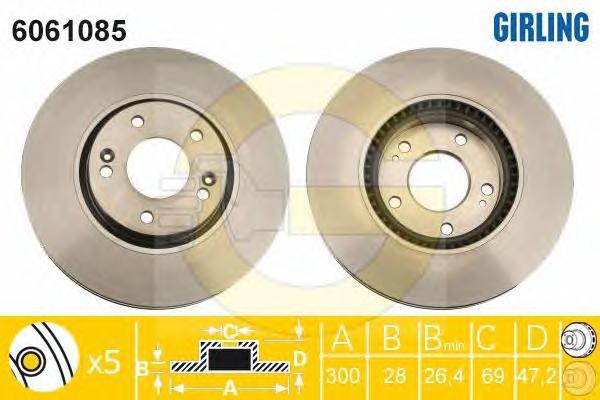 6061085 Диск тормозной HYUNDAI iX35/SONATA (NF)/KIA SPORTAGE передний вент.D=300мм.