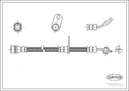 19032190 Шланг торм. Fr L Suzuki 89-99, Toyota 95-97 540мм