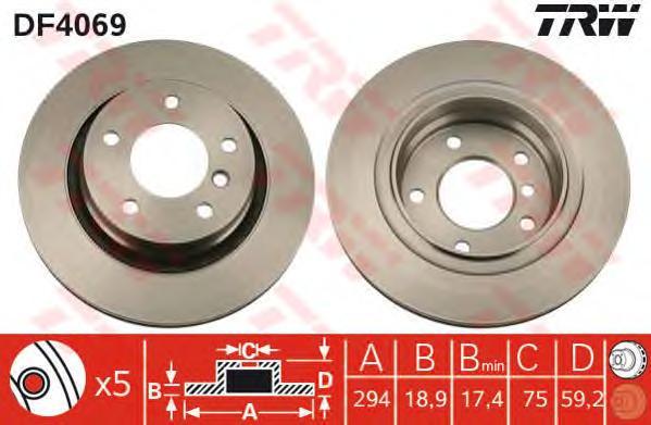 DF4069 Диск тормозной BMW 3 E46 318-328 98-06 задний D=294мм.