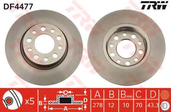 DF4477 Диск тормозной задн ALFA ROMEO: 159 05-, 159 Sportwagon 06-, BRERA 06-