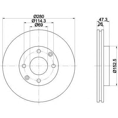 8DD355111771 Диск тормозной HYUNDAI ELANTRA 2.0 01-/SONATA/KIA MAGENTIS 01- передний D=280мм.