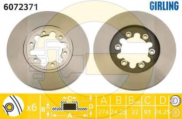 6072371 Диск тормозной FORD RANGER 99-/MAZDA B-SERIE 98- передний вент.D=273мм.