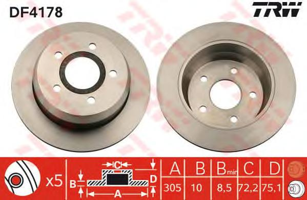 DF4178 Диск тормозной JEEP CHEROKEE 84-01/GRAND CHEROKEE 99- задний D=305мм.