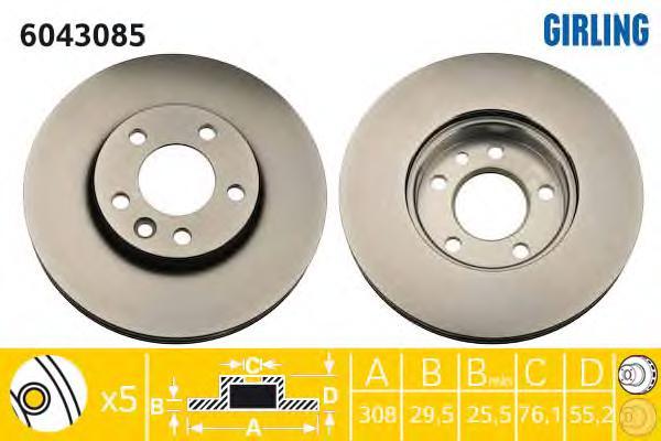 6043085 Диск тормозной VW MULTIVAN/T5 03-/TOUAREG 02-10 передний D=308мм.