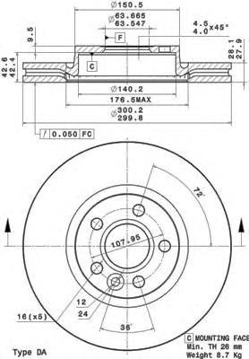 09A42711 Диск тормозной FORD S-MAX/MONDEO 07-/VOLVO S60/S80/XC70 06- d=16мм передний