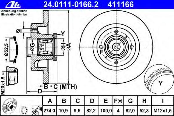 24011101662 Диск тормозной задн, с подшипником и датчиком ABS, RENAULT: MEGANE I Grandtour 1.4 16V/1.6 16V/1.8 16V/1.9 dCi/1.9 d