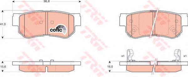 GDB3284 Колодки тормозные HYUNDAI GETZ/MATRIX/SANTA FE/SONATA/TUCSON/KIA SPORTAGE задние