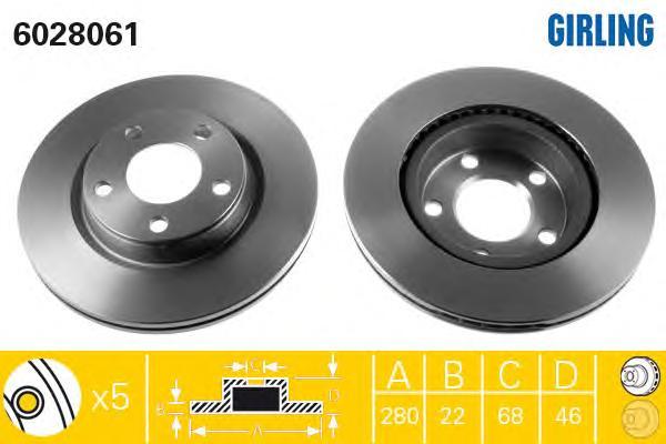 6028061 Диск тормозной AUDI A4 95/VOLKSWAGEN PASSAT 9700 передний вент.