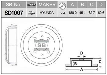 SD1007 Барабан тормозной HYUNDAI ACCENT 03- (ТАГАЗ)