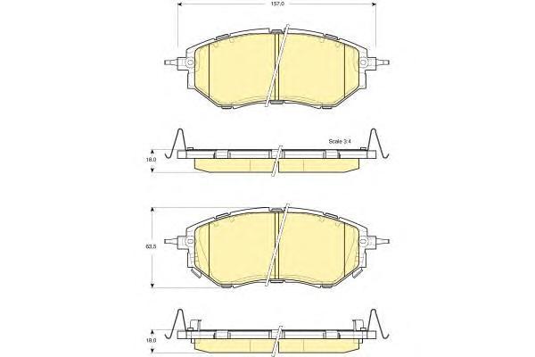 6133729 Колодки тормозные SUBARU LEGACY/OUTBACK/TRIBECA 2.0-3.6 03- передние