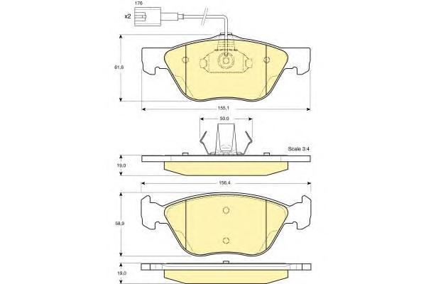 6113622 Колодки тормозные ALFA ROMEO 166 передние