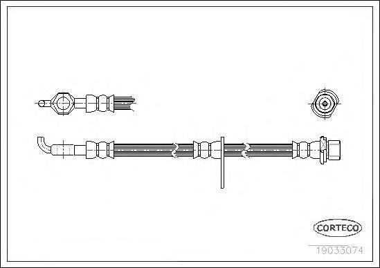 19033074 Шланг торм. Fr L 590мм TO Corolla 02-