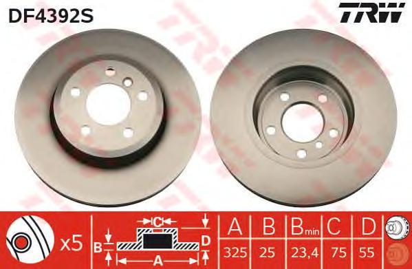 DF4392S Диск тормозной BMW X3 E83 2.0-3.0 04- передний вент.