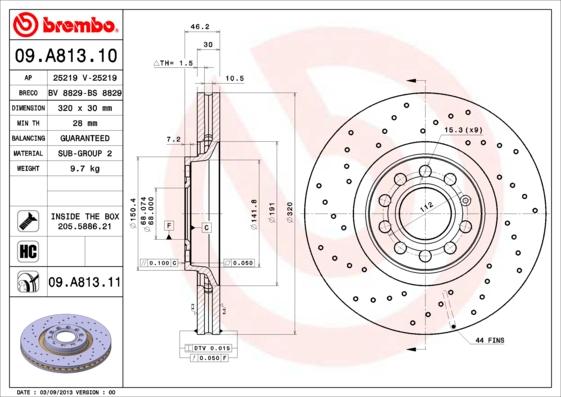 09A81310 Диск тормозной Fr Audi A4 04-08
