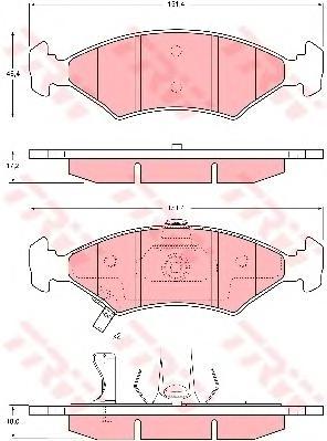 GDB3224 Колодки тормозные KIA SEPHIA/SHUMA 1.5-1.8 95- передние