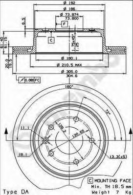 09721720 Диск тормозной JAGUAR XJ 89-03/XK8 96- задний вент.D=305мм.