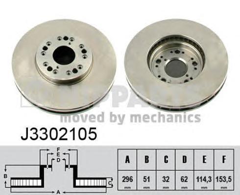 J3302105 Диск тормозной LEXUS GS300/GS400 97/IS200/IS300 9903 передний вент.
