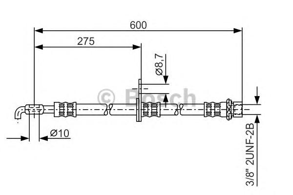 1987476246 Шланг тормозной TOYOTA AVENSIS/COROLLA 1.6-2.4 02- 600мм передний