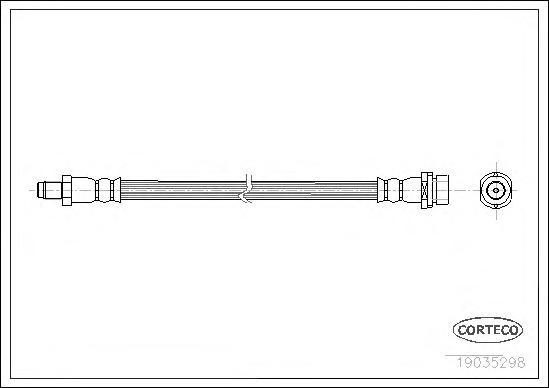 19035298 Шланг тормозной FORD: TRANSIT c бортовой платформой 2.2 TDCi/2.4 TDCi/2.4 TDCi 4x4/3.2 TDCi 06-, TRANSIT автобус 2.2 TD