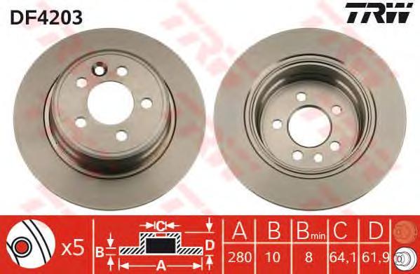 DF4203 Диск тормозной ROVER 75 99-/MG ZT 01- задний