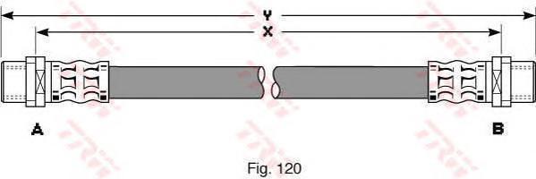 PHA344 Шланг тормозной AUDI: A4 1.6/1.8 97-00, 1.9D 96-00, 2.4/2.5D 97-01, 2.6 94-99, 2.8 94-00, VW: PASSAT 1.6/1.8/1.9D/2.3/2.5