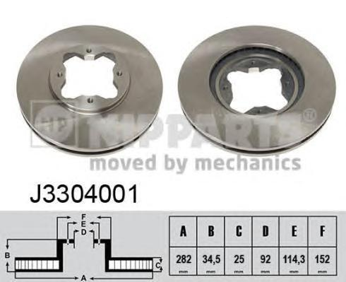 J3304001 Диск тормозной HONDA ACCORD 2.0-2.2 91-98 передний вент.D=282мм.