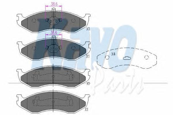 KBP4016 Колодки тормозные JEEP GRAND CHEROKEE/CHEROKEE/KIA CARNIVAL -01 передние