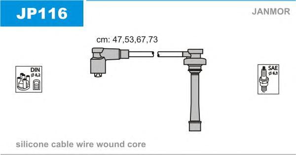 JP116 Комплект проводов зажигания MITSUBISHI: CARISMA 95-06, CARISMA седан 96-06, COLT IV 92-96, GALANT V 92-96, LANCER IV 88-94