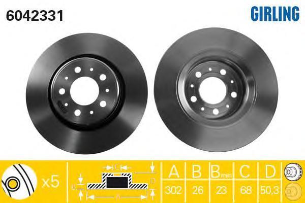 6042331 Диск тормозной VOLVO S70/V70 96-00 передний D=302мм.