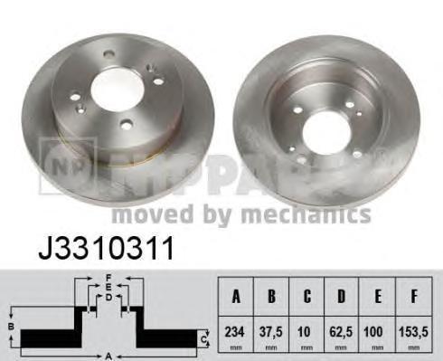 J3310311 Диск тормозной HYUNDAI i10 08-/KIA PICANTO 05- задний
