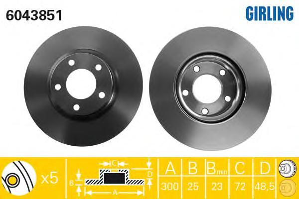 6043851 Диск тормозной MAZDA 3 2.0 03-/MAZDA 5 R16/17/18 05- передний вент.