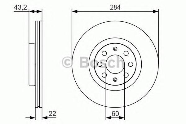 0986479S91 Диск тормозной OPEL CORSA 06-/FIAT 500 09-/PUNTO 05- передний вент.D=284мм.