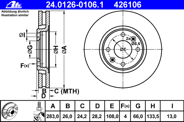 24012601061 Диск тормозной передн, CITROEN: XANTIA 2.0 Turbo/2.1 Turbo D 12V 93-98, XANTIA 2.0 Turbo/2.0 i 16V/2.1 Turbo D 12V 9