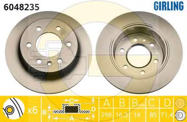 6048235 Диск тормозной MERCEDES SPRINTER/VW CRAFTER 06- задний D=298мм